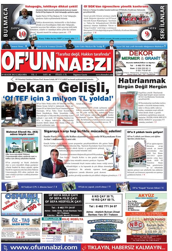 Of'un Nabzı Gazetesi 46. Sayısı