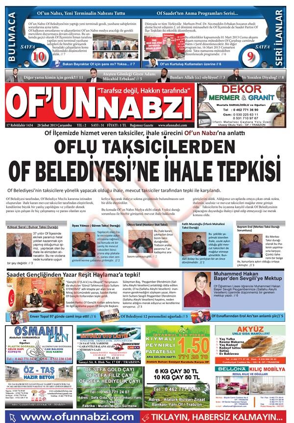 Of'un Nabzı Gazetesi 51. Sayısı