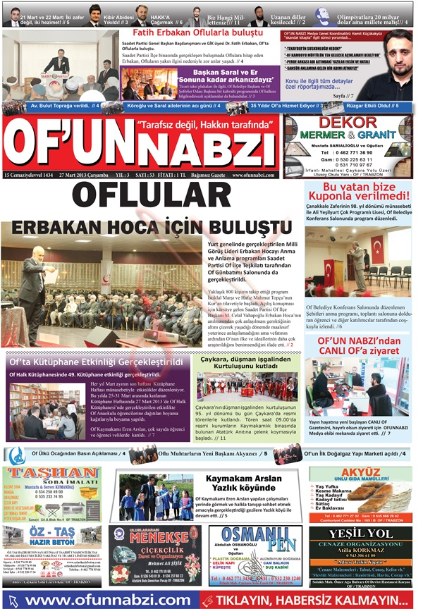 Of'un Nabzı Gazetesi 52. Sayısı