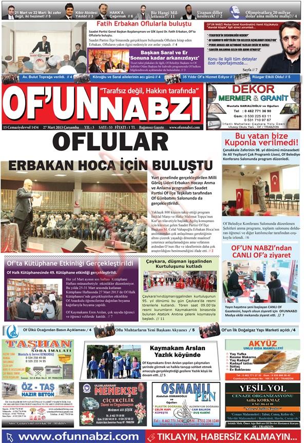 Of'un Nabzı Gazetesi 52. Sayısı