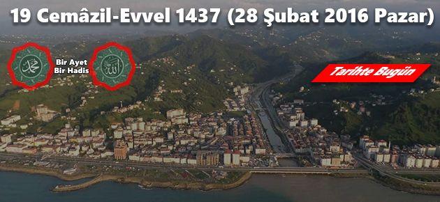 19 Cemâzil-Evvel 1437 (28 Şubat 2016 Pazar)